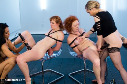 Photo number 15 from Ginger Bitch Live Show: Part 2 shot for Electro Sluts on Kink.com. Featuring Isis Love, Aiden Starr, Claire Robbins and Audrey Hollander in hardcore BDSM & Fetish porn.