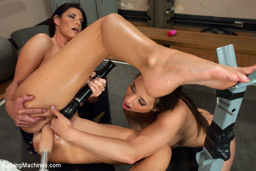 MILF Cougar stalks a Hottie Yoga Girl & they FUCK MACHINES in the gym!