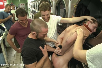 Photo number 4 from Rude punk gets gangbanged and shoved in the dryer at the laundromat  shot for Bound in Public on Kink.com. Featuring Adam Herst, Jayden Ellis and Hayden Richards in hardcore BDSM & Fetish porn.