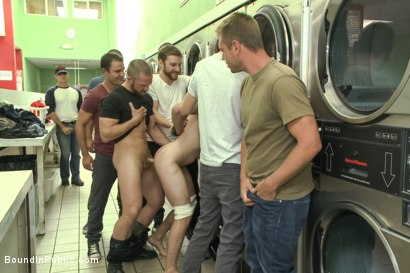 Photo number 5 from Rude punk gets gangbanged and shoved in the dryer at the laundromat  shot for Bound in Public on Kink.com. Featuring Adam Herst, Jayden Ellis and Hayden Richards in hardcore BDSM & Fetish porn.