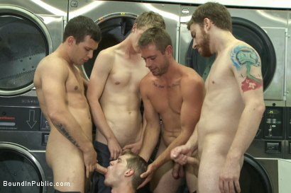 Photo number 10 from Punk Gets His Balls Stretched and His Hole Fucked by a Crowd of Men shot for Bound in Public on Kink.com. Featuring Jayden Ellis and Hayden Richards in hardcore BDSM & Fetish porn.