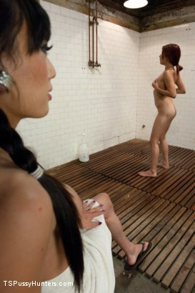 Photo number 2 from Shower Hunter: Jerking off under a towel REVEALS Her COCK  shot for TS Pussy Hunters on Kink.com. Featuring Leah Cortez and Venus Lux in hardcore BDSM & Fetish porn.