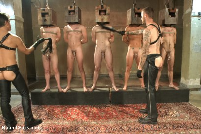 Photo number 3 from Bound Gods 5 Year Anniversary Live Show - The Slave Auction - Part One shot for Bound Gods on Kink.com. Featuring Sebastian Keys, Van Darkholme, John Jammen, Holden Phillips, Lief Kaase, Randall O'Reilly, Derek Pain, Dylan Deap, Rowen Jackson and Christian Wilde in hardcore BDSM & Fetish porn.