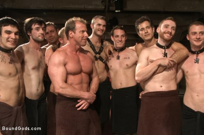 Photo number 15 from Bound Gods 5 Year Anniversary Live Show - The Slave Auction - Part One shot for Bound Gods on Kink.com. Featuring Sebastian Keys, Van Darkholme, John Jammen, Holden Phillips, Lief Kaase, Randall O'Reilly, Derek Pain, Dylan Deap, Rowen Jackson and Christian Wilde in hardcore BDSM & Fetish porn.
