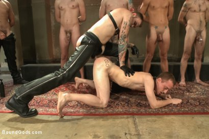 Photo number 8 from Bound Gods 5 Year Anniversary Live Show - The Slave Auction - Part One shot for Bound Gods on Kink.com. Featuring Sebastian Keys, Van Darkholme, John Jammen, Holden Phillips, Lief Kaase, Randall O'Reilly, Derek Pain, Dylan Deap, Rowen Jackson and Christian Wilde in hardcore BDSM & Fetish porn.