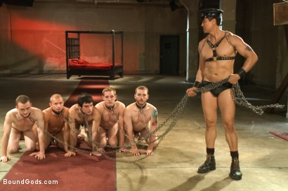 Photo number 9 from BG 5 Year Anniversary Live Show - Bondage Extravaganza - Part Two shot for Bound Gods on Kink.com. Featuring Sebastian Keys, Van Darkholme, John Jammen, Holden Phillips, Lief Kaase, Randall O'Reilly, Derek Pain, Dylan Deap, Rowen Jackson and Christian Wilde in hardcore BDSM & Fetish porn.