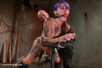 Photo number 5 from Young, tattooed slut gets fucked in all of her holes shot for  on Kink.com. Featuring Derrick Pierce and Krysta Kaos in hardcore BDSM & Fetish porn.