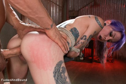 Photo number 7 from Young, tattooed slut gets fucked in all of her holes shot for  on Kink.com. Featuring Derrick Pierce and Krysta Kaos in hardcore BDSM & Fetish porn.