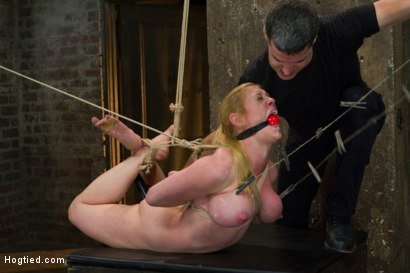 Photo number 8 from Gorgeous Squirting Orgasmic Rope Slut Gets Bound and Defiled shot for Hogtied on Kink.com. Featuring Dee Williams in hardcore BDSM & Fetish porn.