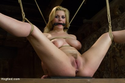 Photo number 2 from Two Gorgeous Blonde Rope Sluts Made to Orgasm in Rough Bondage shot for Hogtied on Kink.com. Featuring Danielle Delaunay and Molly O'Dell in hardcore BDSM & Fetish porn.