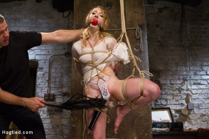 Photo number 12 from Two Gorgeous Blonde Rope Sluts Made to Orgasm in Rough Bondage shot for Hogtied on Kink.com. Featuring Danielle Delaunay  and Molly O'Dell in hardcore BDSM & Fetish porn.