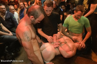 Photo number 3 from Ripped stud with a giant cock get used in a crowded bar shot for Bound in Public on Kink.com. Featuring Christian Wilde and Doug Acre in hardcore BDSM & Fetish porn.