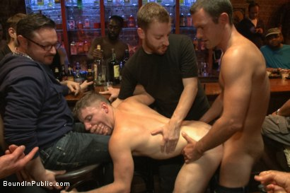 Photo number 9 from Ripped stud with a giant cock get used in a crowded bar shot for Bound in Public on Kink.com. Featuring Christian Wilde and Doug Acre in hardcore BDSM & Fetish porn.
