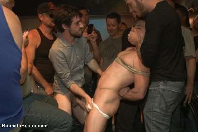 Photo number 4 from Ripped stud with a giant cock get used in a crowded bar shot for Bound in Public on Kink.com. Featuring Christian Wilde and Doug Acre in hardcore BDSM & Fetish porn.