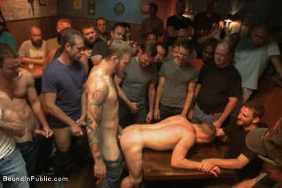 Photo number 13 from Ripped stud with a giant cock get used in a crowded bar shot for Bound in Public on Kink.com. Featuring Christian Wilde and Doug Acre in hardcore BDSM & Fetish porn.