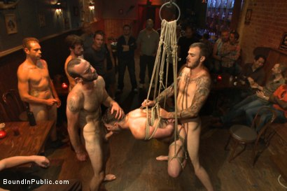 Photo number 14 from Wax and Gang Bang a Muscled Stud with a Fat Cock shot for Bound in Public on Kink.com. Featuring Christian Wilde and Doug Acre in hardcore BDSM & Fetish porn.