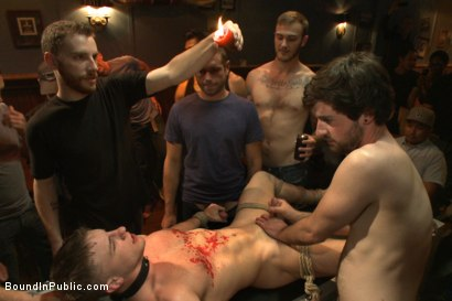 Photo number 3 from Wax and Gang Bang a Muscled Stud with a Fat Cock shot for Bound in Public on Kink.com. Featuring Christian Wilde and Doug Acre in hardcore BDSM & Fetish porn.