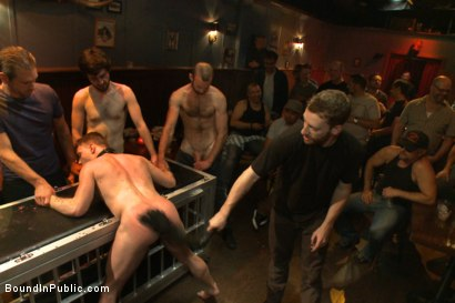 Photo number 4 from Wax and Gang Bang a Muscled Stud with a Fat Cock shot for Bound in Public on Kink.com. Featuring Christian Wilde and Doug Acre in hardcore BDSM & Fetish porn.