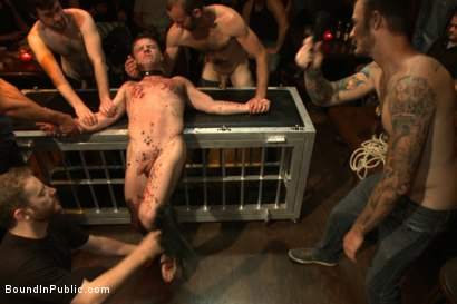 Photo number 5 from Wax and Gang Bang a Muscled Stud with a Fat Cock shot for Bound in Public on Kink.com. Featuring Christian Wilde and Doug Acre in hardcore BDSM & Fetish porn.