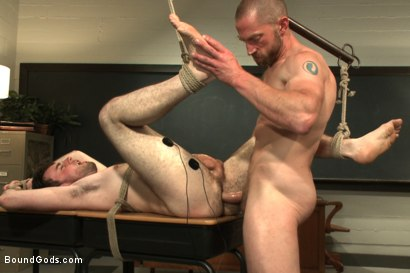 Photo number 13 from Horny professor beats, electrocutes, and fucks one of his students shot for Bound Gods on Kink.com. Featuring Adam Herst and Rowen Jackson in hardcore BDSM & Fetish porn.