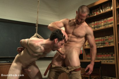 Photo number 4 from Horny professor beats, electrocutes, and fucks one of his students shot for Bound Gods on Kink.com. Featuring Adam Herst and Rowen Jackson in hardcore BDSM & Fetish porn.