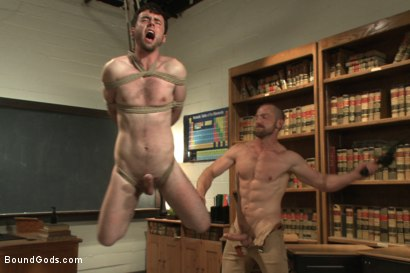 Photo number 8 from Horny professor beats, electrocutes, and fucks one of his students shot for Bound Gods on Kink.com. Featuring Adam Herst and Rowen Jackson in hardcore BDSM & Fetish porn.