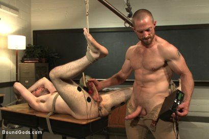 Photo number 11 from Horny professor beats, electrocutes, and fucks one of his students shot for Bound Gods on Kink.com. Featuring Adam Herst and Rowen Jackson in hardcore BDSM & Fetish porn.