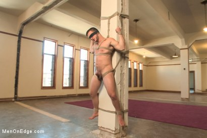 Photo number 8 from Suspended upside down, latin bodybuilder has his fat cock edged  shot for Men On Edge on Kink.com. Featuring Angel Rock in hardcore BDSM & Fetish porn.