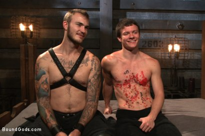 Photo number 15 from Caged sex slave endures a beating, hot wax and hard stockade fuck shot for Bound Gods on Kink.com. Featuring Christian Wilde and Tyler Sweet in hardcore BDSM & Fetish porn.