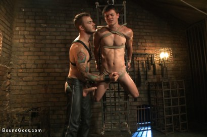 Photo number 6 from Caged sex slave endures a beating, hot wax and hard stockade fuck shot for Bound Gods on Kink.com. Featuring Christian Wilde and Tyler Sweet in hardcore BDSM & Fetish porn.