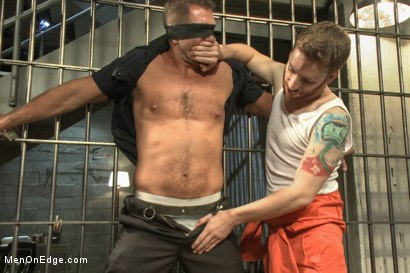 Photo number 3 from Officer Justice taken down and his giant cock edged by two perverts shot for Men On Edge on Kink.com. Featuring Andrew Justice in hardcore BDSM & Fetish porn.