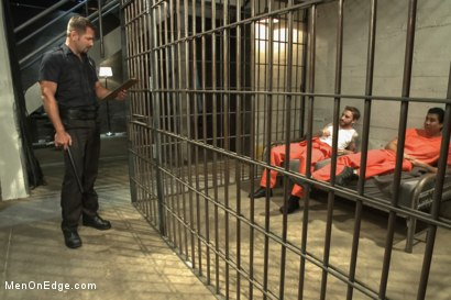Photo number 1 from Officer Justice taken down and his giant cock edged by two perverts shot for Men On Edge on Kink.com. Featuring Andrew Justice in hardcore BDSM & Fetish porn.