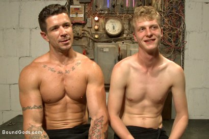 Photo number 15 from One of BIP doms is at the mercy of a horny handyman shot for Bound Gods on Kink.com. Featuring Trenton Ducati and Branden Forrest in hardcore BDSM & Fetish porn.