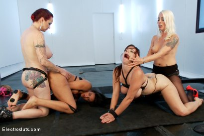 Photo number 19 from One Good Submissive and One Bratty Slut, Electrofucked LIVE!! shot for Electro Sluts on Kink.com. Featuring Lorelei Lee, Mz Berlin, Penny Barber and Bella Rossi in hardcore BDSM & Fetish porn.