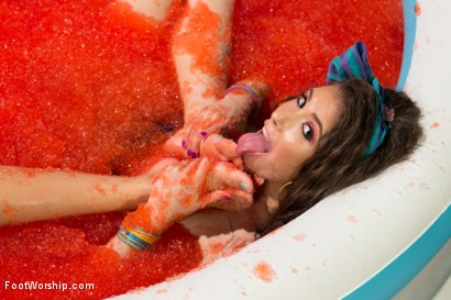 Photo number 3 from Foot Fetish, Lesbian Footing, Jello and Sploshing!!!!! shot for Foot Worship on Kink.com. Featuring Lorelei Lee, Casey Calvert  and Rilynn Rae in hardcore BDSM & Fetish porn.