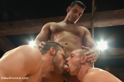 Photo number 12 from Naked Kombat's First Live Audience Tag Team Match of the Season! shot for Naked Kombat on Kink.com. Featuring Randall O'Reilly, Cameron Kincade, Marcus Ruhl and Landon Conrad in hardcore BDSM & Fetish porn.