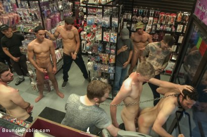 Photo number 11 from Hot ripped stud gets punished and gang fucked by a crowd for stealing shot for Bound in Public on Kink.com. Featuring Silas O'Hara, Andrew Fitch and Jay Cloud in hardcore BDSM & Fetish porn.