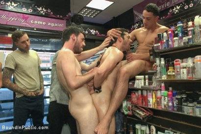 Photo number 8 from Hot ripped stud gets punished and gang fucked by a crowd for stealing shot for Bound in Public on Kink.com. Featuring Silas O'Hara, Andrew Fitch and Jay Cloud in hardcore BDSM & Fetish porn.