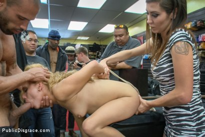 Photo number 13 from Tiny blonde deflowered in sleazy sex shop. 1st ever porn shoot! shot for Public Disgrace on Kink.com. Featuring Luna Light and Karlo Karrera in hardcore BDSM & Fetish porn.