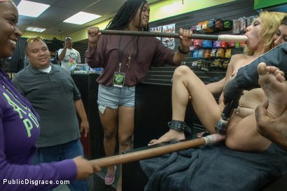 Photo number 6 from Tiny blonde deflowered in sleazy sex shop. 1st ever porn shoot! shot for Public Disgrace on Kink.com. Featuring Luna Light and Karlo Karrera in hardcore BDSM & Fetish porn.