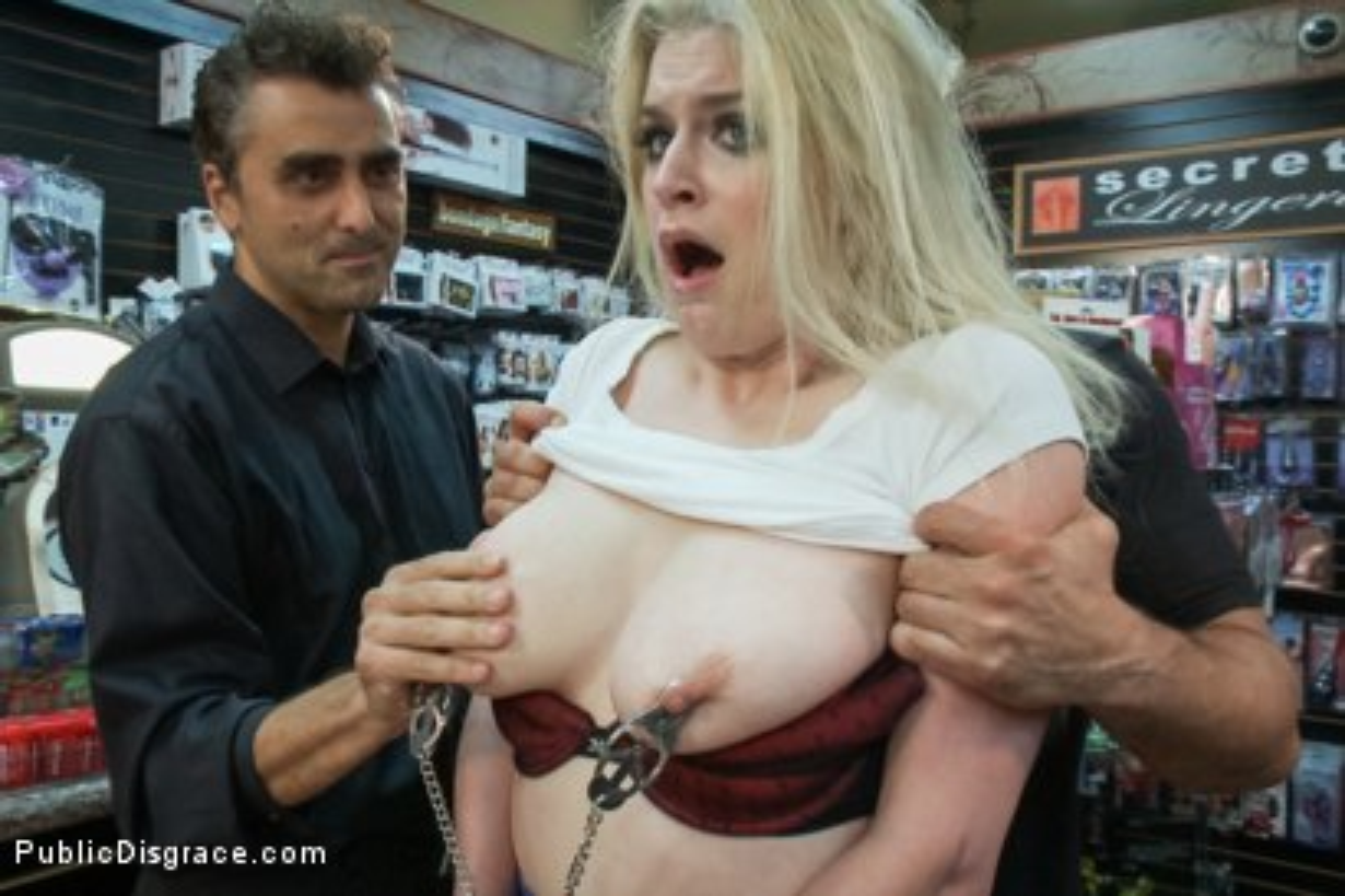 Regret, Public disgrace blonde in sex shop
