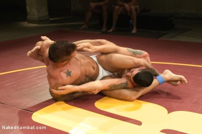 Photo number 4 from First Match of NK's Summer Smackdown 10-Man Kombatant Tournament! shot for Naked Kombat on Kink.com. Featuring Rod Daily and Tyler Alexander in hardcore BDSM & Fetish porn.