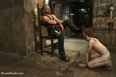 Photo number 1 from One of BG's members goes in front of the camera for the first time shot for Bound Gods on Kink.com. Featuring Adam Herst and Seamus O'Reilly in hardcore BDSM & Fetish porn.