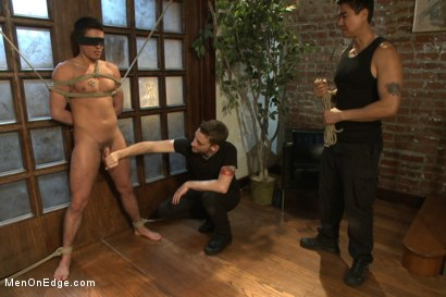 Photo number 9 from Two edging perverts take down a sexy stud with a fat cock shot for Men On Edge on Kink.com. Featuring Jett Jax in hardcore BDSM & Fetish porn.