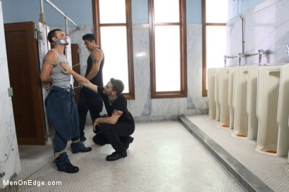 Photo number 2 from Hot janitor endures relentless edging at an airport restroom shot for Men On Edge on Kink.com. Featuring Axel Flint in hardcore BDSM & Fetish porn.