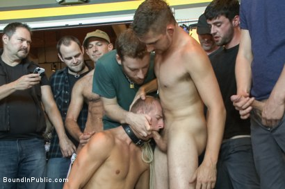 Photo number 12 from Cock Hungry Whore Gang Fucked at Mr. S Leather shot for Bound in Public on Kink.com. Featuring Dayton O'Connor, Randall O'Reilly and Rex Wolfe in hardcore BDSM & Fetish porn.