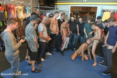 Photo number 3 from Cock Hungry Whore Gang Fucked at Mr. S Leather shot for Bound in Public on Kink.com. Featuring Dayton O'Connor, Randall O'Reilly and Rex Wolfe in hardcore BDSM & Fetish porn.