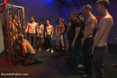 Photo number 1 from Horny crowd gang bangs a young stud at the playspace of Mr S Leather  shot for Bound in Public on Kink.com. Featuring Dayton O'Connor, Randall O'Reilly and Rex Wolfe in hardcore BDSM & Fetish porn.