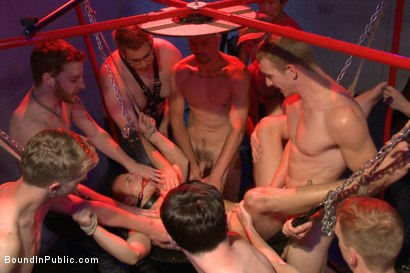 Photo number 12 from Horny crowd gang bangs a young stud at the playspace of Mr S Leather  shot for Bound in Public on Kink.com. Featuring Dayton O'Connor, Randall O'Reilly and Rex Wolfe in hardcore BDSM & Fetish porn.