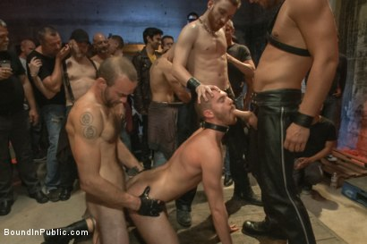 Photo number 13 from Southern stud gets fucked and showered with cum in front of 100 men! shot for Bound in Public on Kink.com. Featuring Hayden Richards, Jordan Foster and Connor Maguire in hardcore BDSM & Fetish porn.